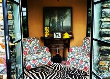 Framhouse style interior with the zebra rug