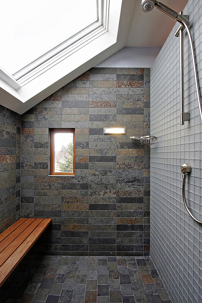 Give the small shower area ample natural light