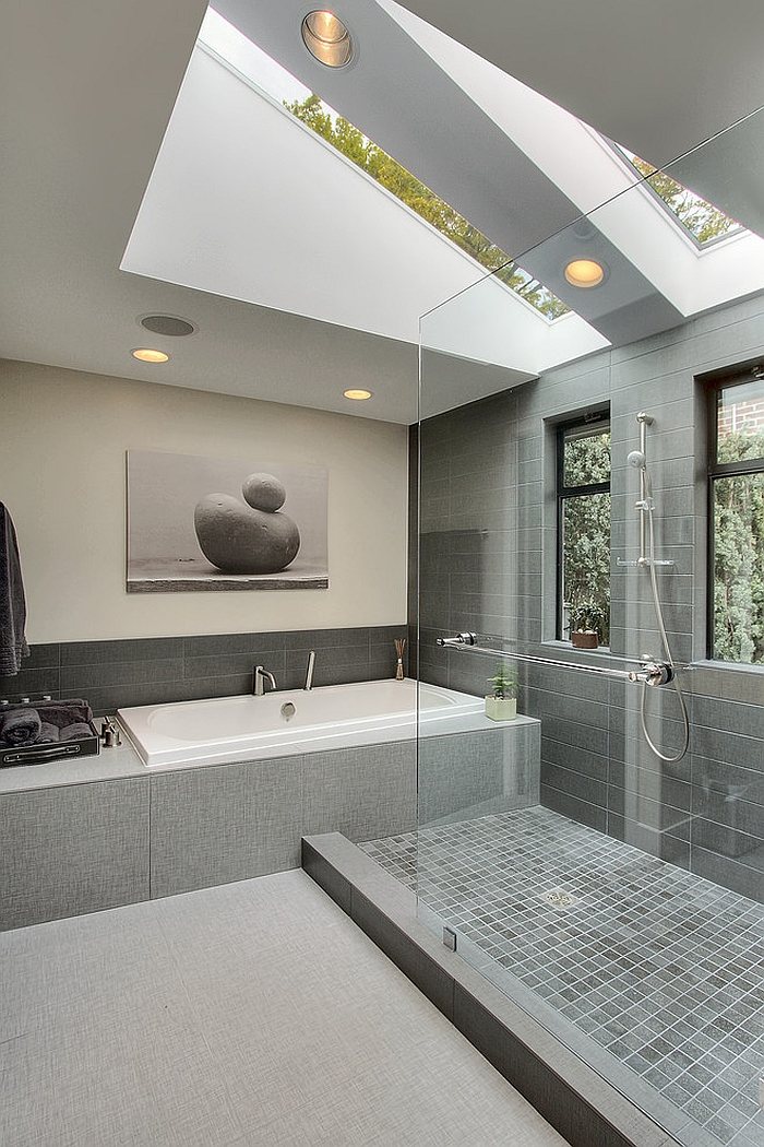Gorgeous contemporary bathroom in gray [Design: Dyna Contracting]