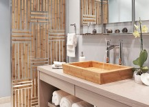 Gorgeous divider panel in bathroom has bamboo embedded in resin!