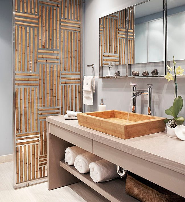 Gorgeous divider panel in bathroom has bamboo embedded in resin! [Design: Luminexa Surfacing]