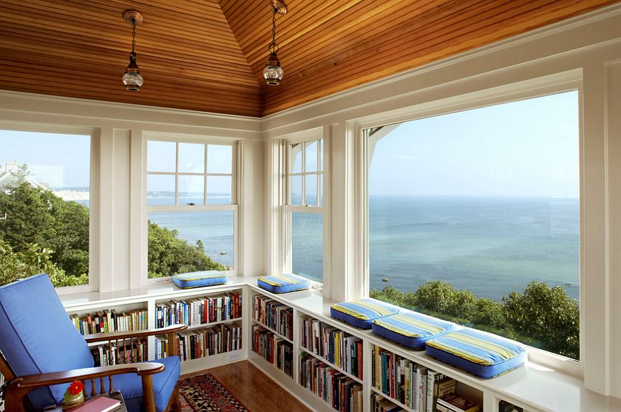 Gorgeous home office with ocean view and a relaxing ambiance [Design: Albert, Righter & Tittmann Architects]