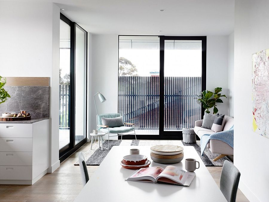View In Gallery Gorgeous Living Space Of The Lovely Crisp Street Apartment Melbourne