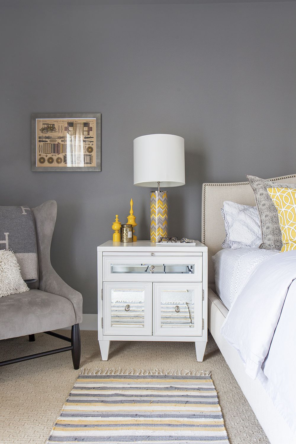 Snug los angeles home captivates with color and ingenuity for Gray and yellow bedroom