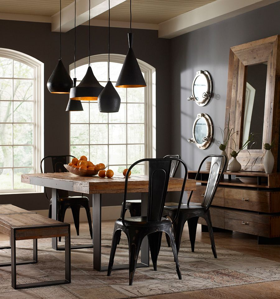 Gray walls and Tom Dixon pendants add contemporary beauty to the space [Design: Marco Polo Imports]