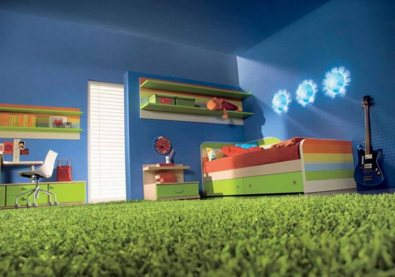 Green carpeting in a child's bedroom