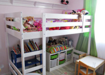 Hacked IKEA Loft Bed with Storage in Pink Room