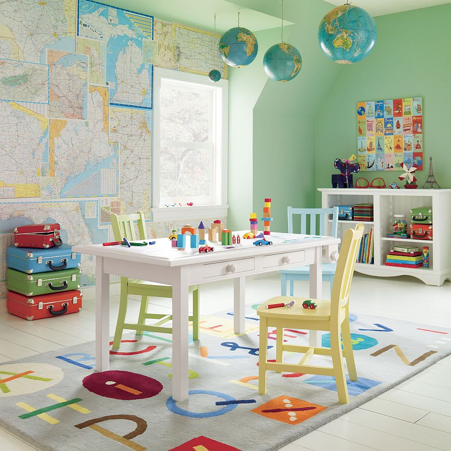 Hang those globes in style in the kids playroom 12 Unique Ways to Decorate with Globes