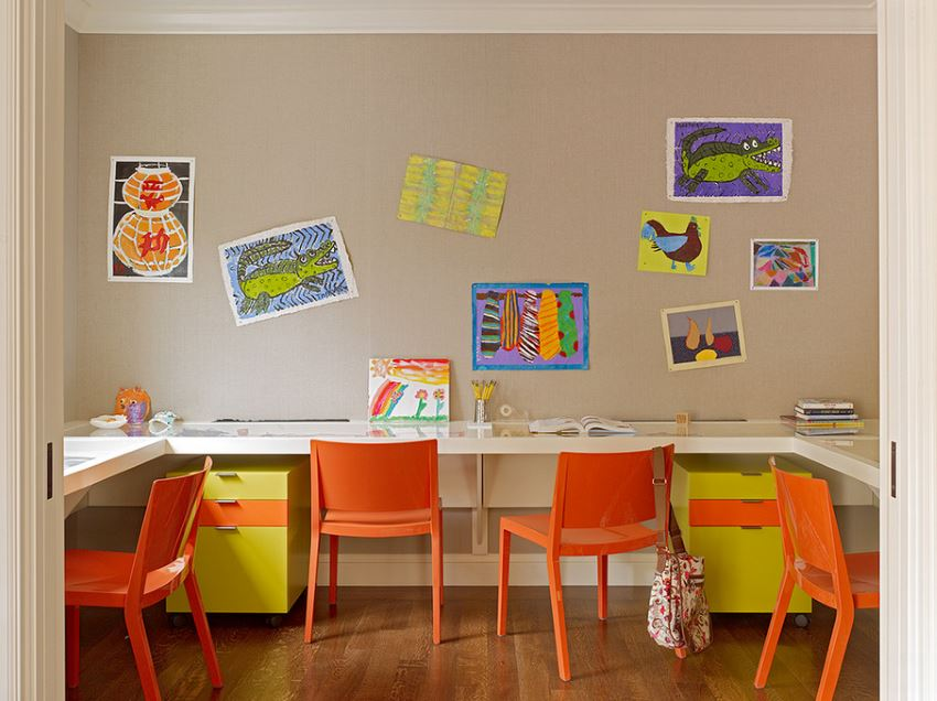 Hardwood flooring in a child-friendly home office