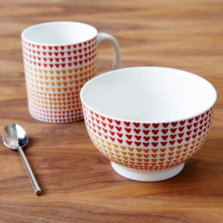Heart mug and bowl from West Elm