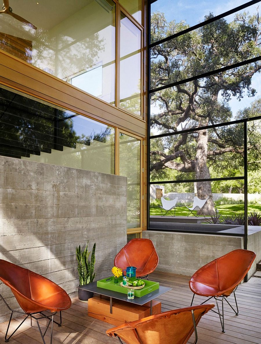 High ceiling and glass walls bring the outdoors inside