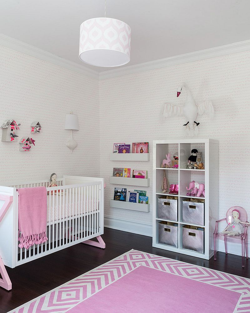Hints of pink add chic glam to the contemporary nursery [Design: SISSY+MARLEY]