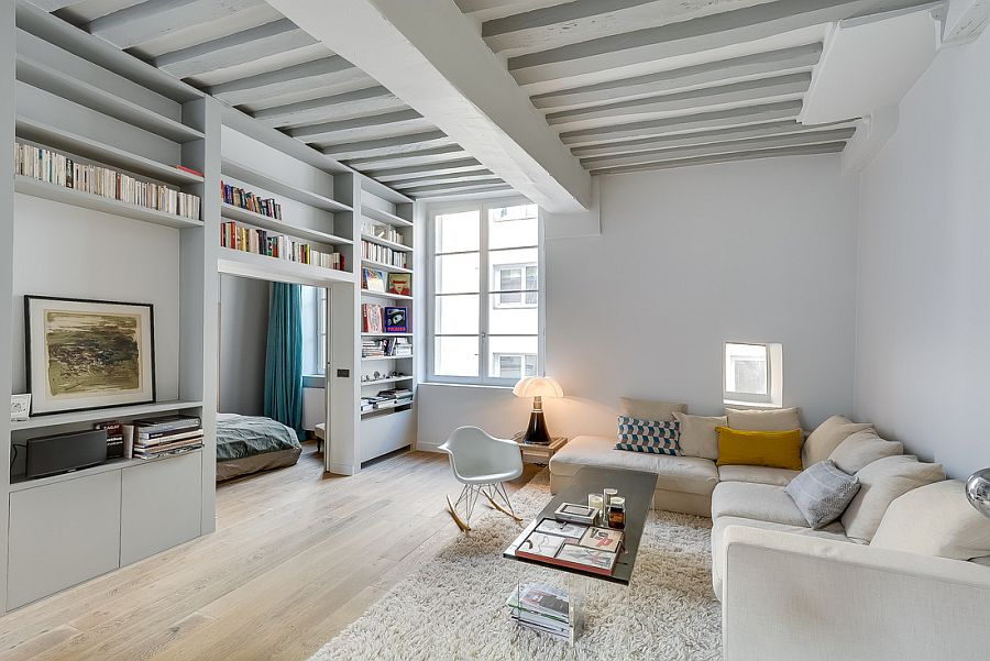 Historic apartment in paris gets a beautiful modern revamp Small Apartment in Paris Gets a Chic, Space Conscious Makeover