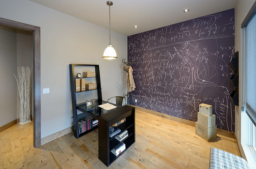 Home office chalkboard wall for the genius at work! [Design: Architectural Designs]