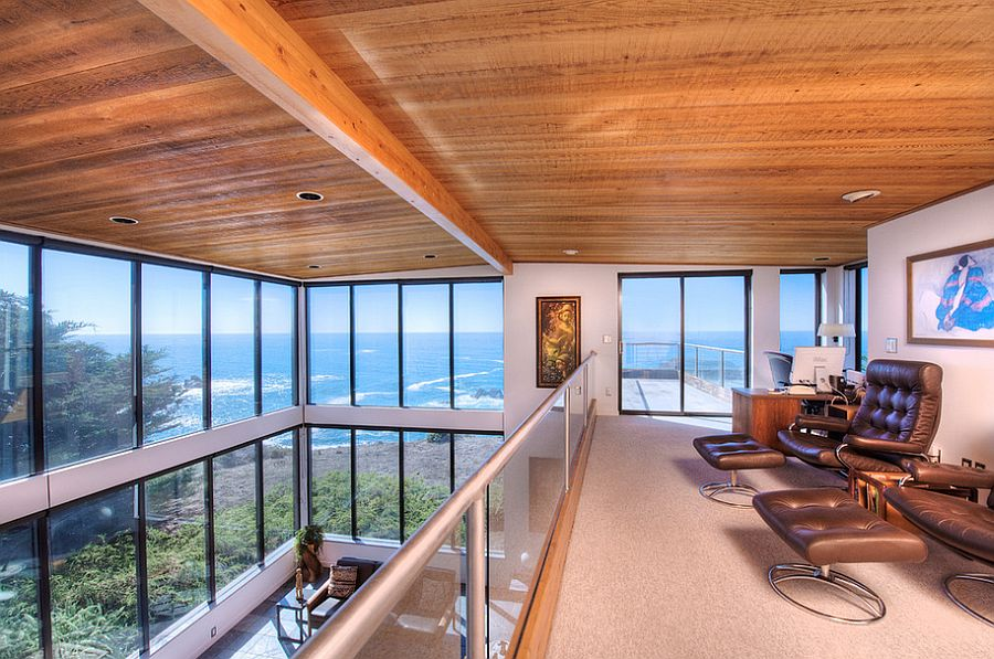 Home office offers spectacular views of the rugged coastline and the Pacific [Design: Decker Bullock Sotheby's International Realty]
