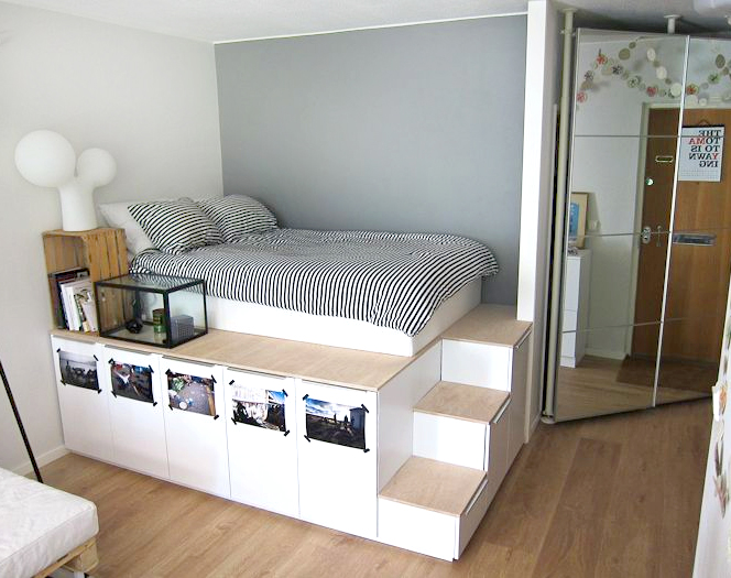 8 awesome pieces of bedroom furniture you won 39 t believe for Platform bed with drawers ikea