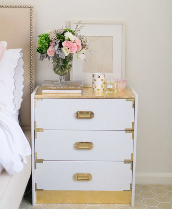 View In Gallery Ikea Rast Redone As A Gold Nightstand