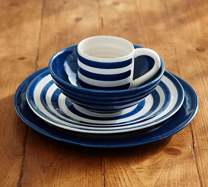 Indigo striped dinnerware from Pottery Barn