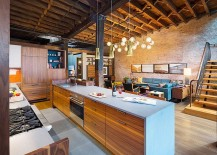 Kitchen of the renovated loft with beautiful lighting