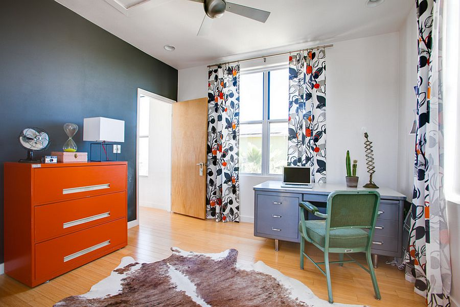 Large orange file cabinet becomes a statement piece in the home office [From: Kailey J. Flynn Photography]