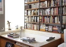 Library set into the bathroom walls at the home of writer Michael Cunningham