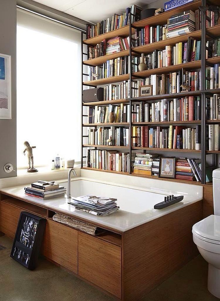Library set into the bathroom walls at the home of writer Michael Cunningham [From: Work in Progress]