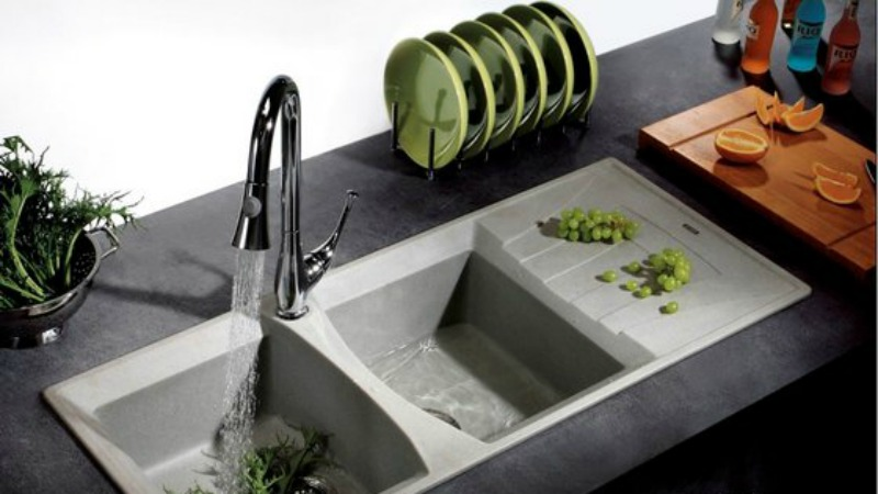 Grey-on-grey granite sink combination