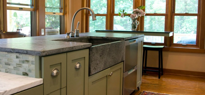 Light Grey Soapstone Farmhouse Sink