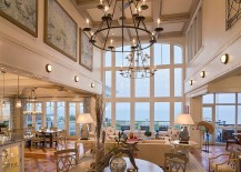 Lighting fixtures bring granduer to the space 217x155 Sizing It Down: How to Decorate a Home with High Ceilings