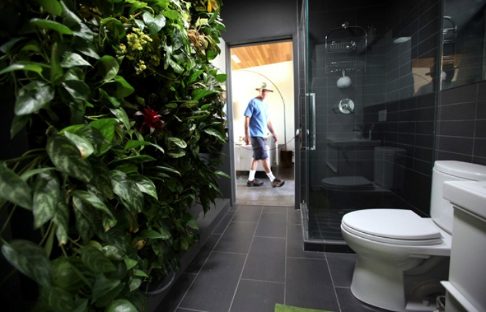 This living wall purifies and cools this bathroom's air