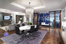 Living space of the lavish condominium that reflects the opulence of Ritz-Carlton