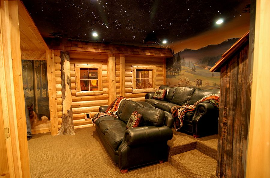 Log cabin style home theater with hand-painted murals and ceiling with fiber optics [Design: Foran Interior Design]