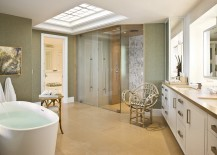 Lovely contemporary bathroom with cool use of skylight