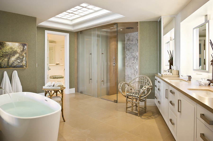Lovely contemporary bathroom with cool use of skylight [Design: Harte Brownlee & Associates Interior Design]