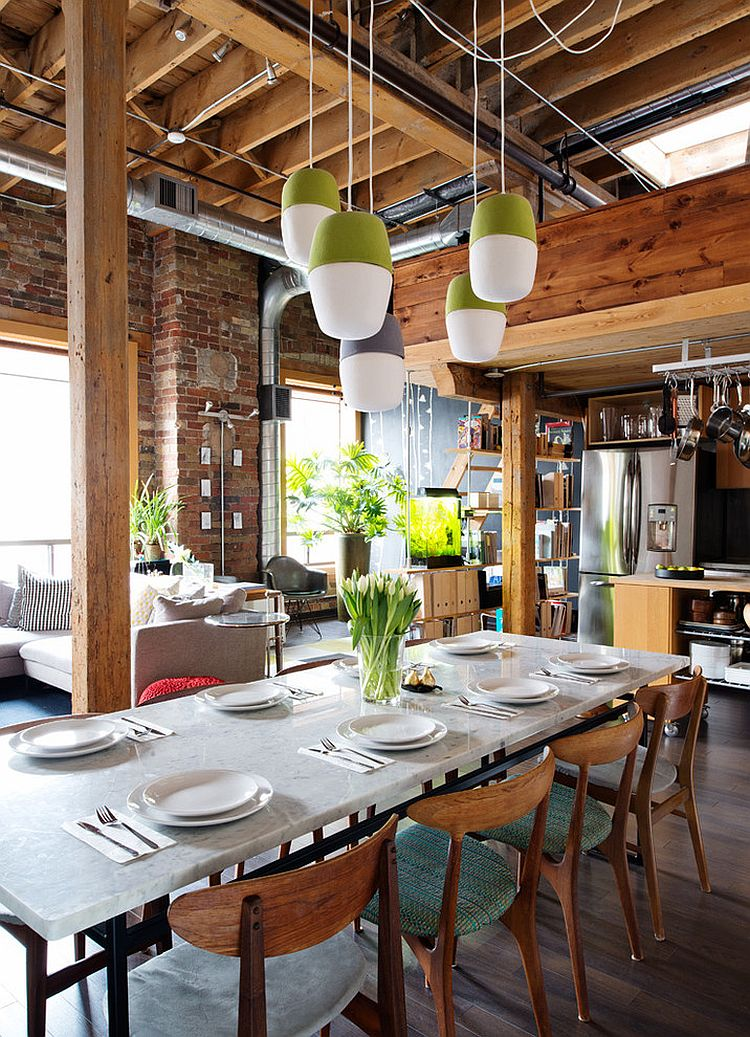 Lovely industrial dining room with a touch of green [Design: Pause Architecture + Interiors]