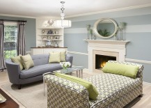 Lovely light blue and white bring elegance to the living room