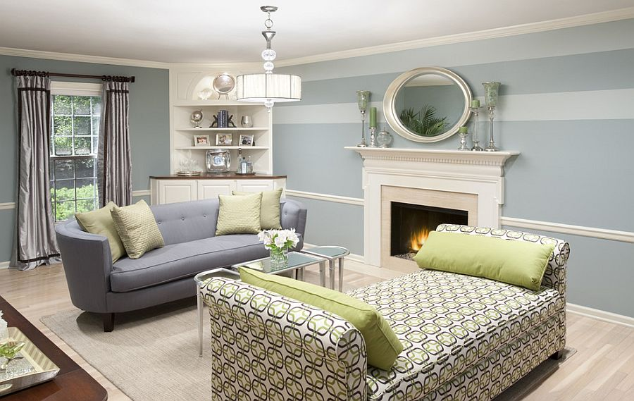 lovely light blue and white bring elegance to the living room design