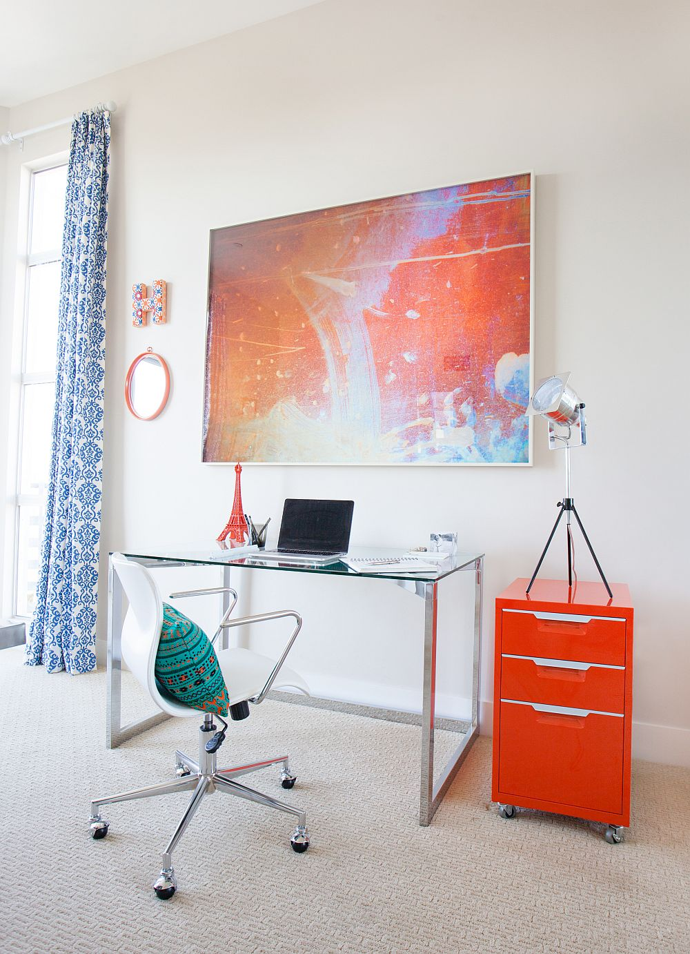 Lovely orange desk steals the show in the home office