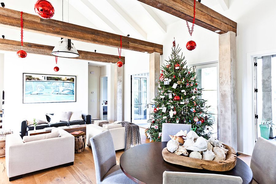 ... Lovely Use Of Beams Reduces The Scale Of The Large Living Room [Design:  Cortney