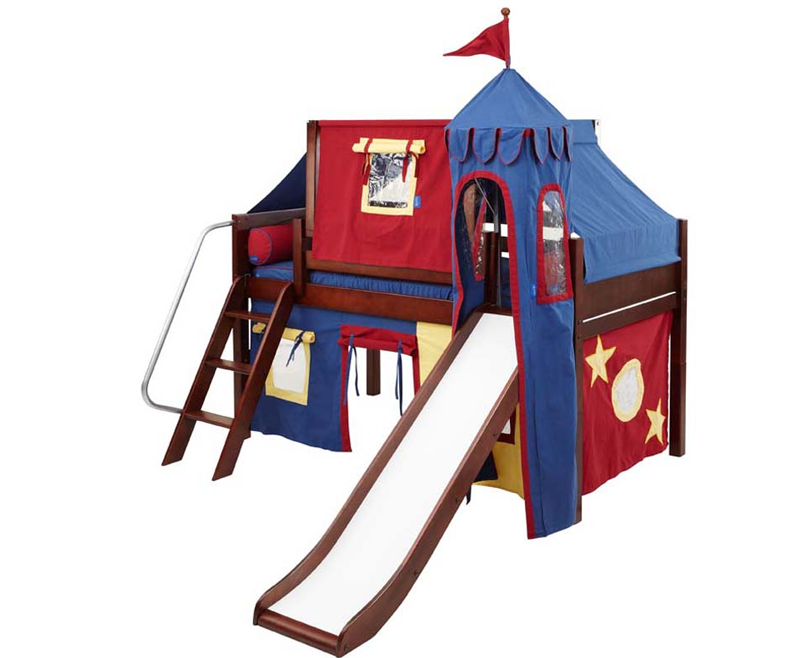 Low Loft Bed Blue and Red