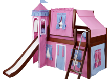 Low-Loft-Bed-with-Blue-and-Hot-Pink-Castle-Tent-217x155