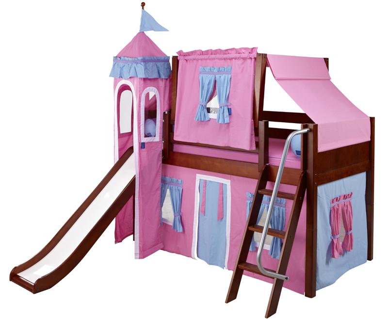 Low Loft Bed with Blue and Hot Pink Castle Tent