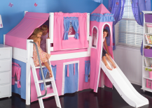 Low-Loft-Bed-with-Blue-and-Hot-Pink-Tent-217x155