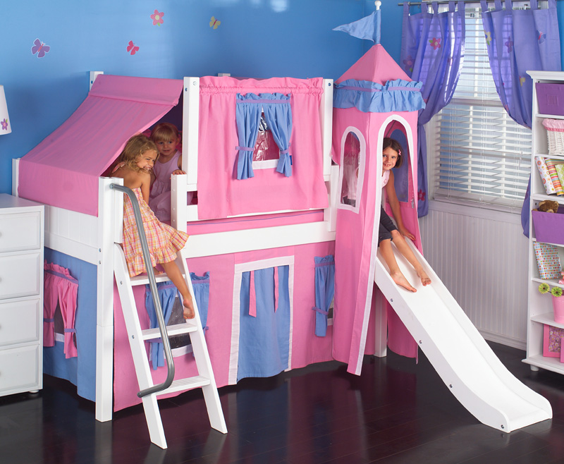 Low Loft Bed with Blue and Hot Pink Tent