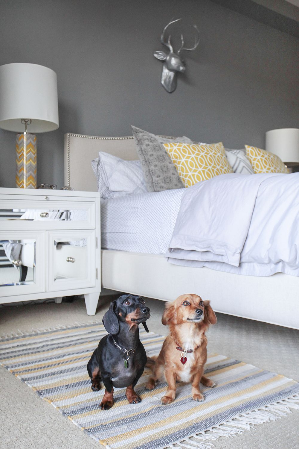 Mirrored bedroom table adds chic style to the space