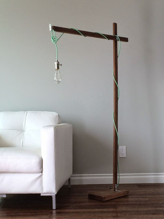 Modern DIY floor lamp from Ana White 10 Floor Lamps with Modern Style