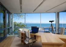 Modern home office keeps the focus on the view outside