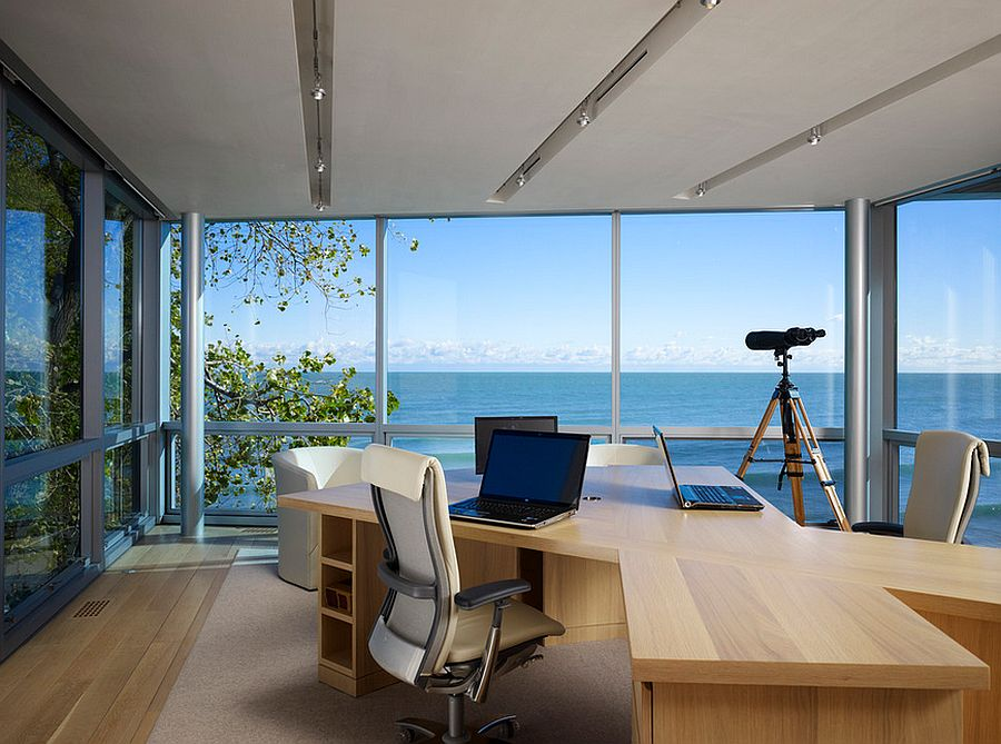 Modern home office keeps the focus on the view outside [Design: Booth Hansen]