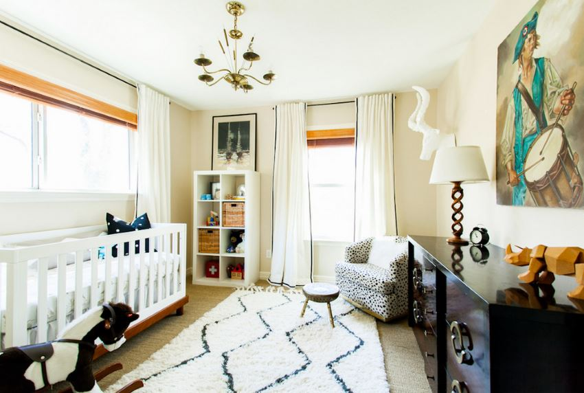 Modern nursery with carpet and an area rug