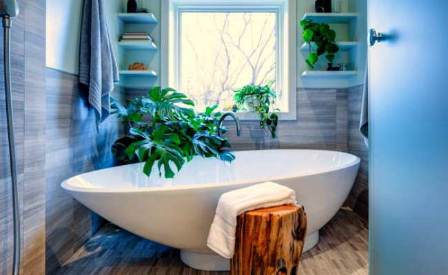 12 creative ways to use plants in the bathroom for Bathtub shapes and sizes